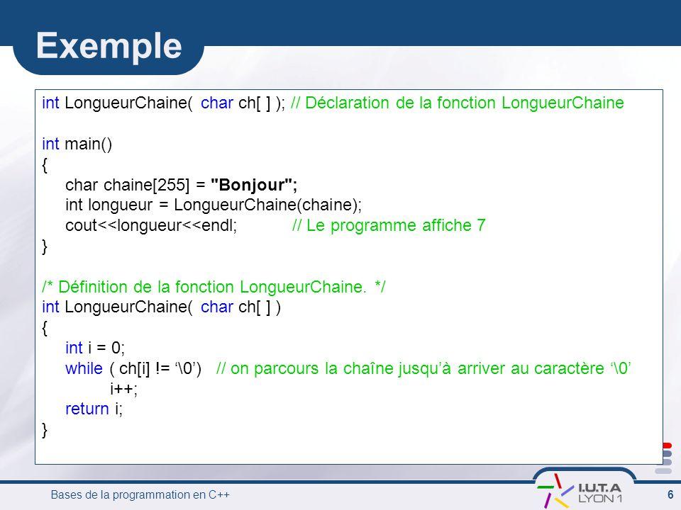 Exemple int LongueurChaine( char ch[ ] ); // Déclaration de la fonction LongueurChaine. int main()
